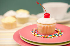 Single Cupcake With A Cherry On Top. On A Pink Plate Stock Image
