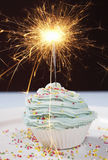 Single Cupcake With Lit Sparkler Stock Photography