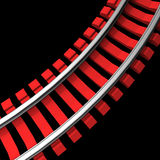 Single curved railroad track Royalty Free Stock Photos