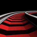 Single curved railroad track Stock Image