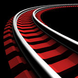 Single curved railroad track Royalty Free Stock Photo