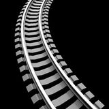 Single curved railroad track isolated Royalty Free Stock Photo
