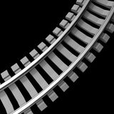 Single curved railroad track isolated Royalty Free Stock Photography