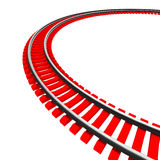 Single curved railroad track isolated. On white background Stock Images