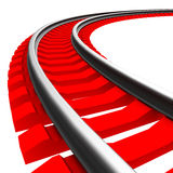 Single curved railroad track isolated Stock Photography