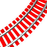 Single curved railroad track isolated Stock Image