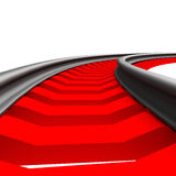 Single curved railroad track isolated Stock Photos