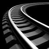 Single curved railroad track  Stock Photo