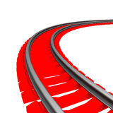 Single curved railroad track  Royalty Free Stock Image