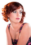 Single cute red haired girl isolated Royalty Free Stock Images