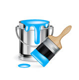 Single cyan paint bucket with wide paint brush Royalty Free Stock Image