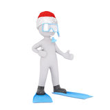 Single 3D figure in diving gear over white Royalty Free Stock Photos