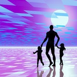 Single dad background. Digitally created conceptual background design showing a single dad with a little girl and boy, room for text Royalty Free Stock Photography