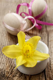 Single daffodil flower and easter eggs Royalty Free Stock Photos