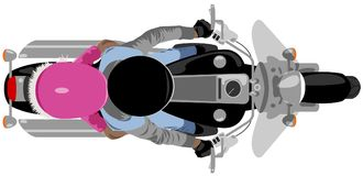 Classic cruise motorcycle with rider and girl passenger top view isolated on white vector illustration royalty free illustration