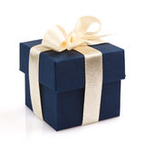 Single dark blue gift box Stock Images