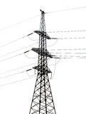 Single dark electrical steel pylon isolated on white Stock Photography