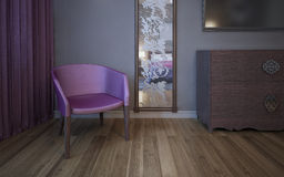 Single dark pink armchair near wall with patterned mirror. 3D render stock images