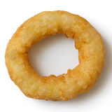 Single deep fried onion or calamari ring  from above. Stock Photos