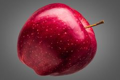 Single delicious red apple on grey background. Single delicious red apple isolated on grey background with clipping path and shiny reflections Stock Photo