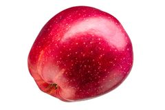 Single delicious red apple on grey background stock images