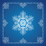 Single detailed snowflake with Christmas border. On blue background royalty free illustration