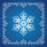 Single detailed snowflake with Christmas border Royalty Free Stock Photo