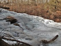 Frozen Shacktown Falls. Single digit temperatures formed some wonderful shapes as the waters of Shacktown Falls began to freeze. In warmer weather, the water Royalty Free Stock Photos