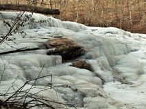 Frozen Shacktown Falls. Single digit temperatures formed some wonderful shapes as the waters of Shacktown Falls began to freeze. In warmer weather, the water stock photo