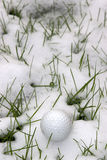 Single dimpled golf ball in the snow covered grass Royalty Free Stock Photography
