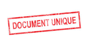 Single document in French translation in red rectangular stamp Stock Photo
