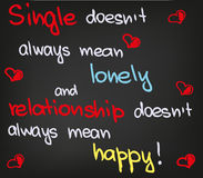 Single does not mean. Love and happiness in words and decoration Stock Photography