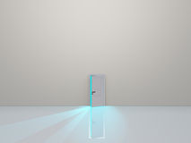 Single door in pure white space Stock Photography