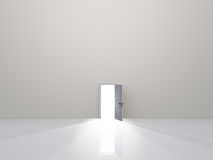 Single door in pure white space Royalty Free Stock Image