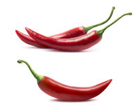 Single and double chili peppers set isolated on white Royalty Free Stock Photos
