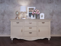 Single dresser near wall in bedroom Royalty Free Stock Photos
