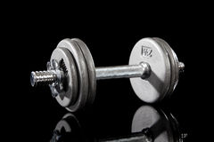 Single Dumbbell on Black Royalty Free Stock Image