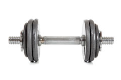 A single dumbell on white Royalty Free Stock Photography