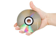 Single DVD(CD) disc hold in hand. Stock Image