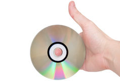 Single DVD(CD) disc hold in hand. Stock Photography