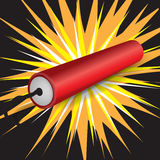 Single dynamite exploding Royalty Free Stock Images
