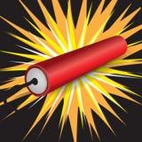 Single dynamite exploding. Single dynamite while exploding illustration Royalty Free Stock Images
