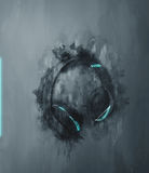 Single earphones set in gray painterly effect Royalty Free Stock Photo