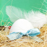 Single Easter egg with colorful ribbon in a nest closeup with co Royalty Free Stock Image