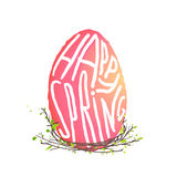 Single Easter Egg with Nest Floral Decoration in Stock Images