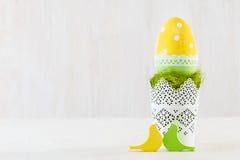 Single easter egg in a pot. Stock Photos