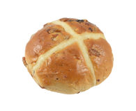 Spicy Hot cross bun isolated. Single Easter Hot cross bun isolated on white background Royalty Free Stock Photography