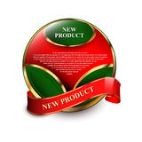 Single eco label with red ribbon Royalty Free Stock Photo