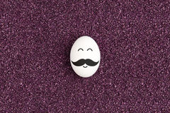 Single egg on the purple sand. Stock Images