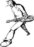 Single Electric Guitarist Outline. Young male electric guitar musician performing over white background Stock Photography